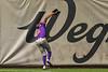 Cortland Crush Alexis Castillo (26) runs down a long fly ball for an out against the Syracuse Salt Cats in New York Collegiate Baseball League action on Leo Pinckney Field at Falcon Park in Auburn, New York on Sunday, July 18, 2021. Cortland won 4-3.