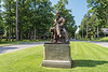 Statue of James fenimore Cooper in Cooper Park in Cooperstown, New York on Friday, July 23, 2021.