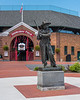 The Sandlot Kid statue by Sculptor Victor Salvatore in front of Doubleday Field in Cooperstown, New York on Friday, July 23, 2021.