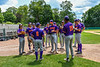 Manager Bill McConnell prepping his Purple Crush team before playing the Orange Crush at Doubleday Field in Cooperstown, New York on Friday, July 23, 2021.