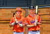Orange Crush players Colt Harris (4) and Edward Hardiman (39) on Doubleday Field in Cooperstown, New York on Friday, July 23, 2021.