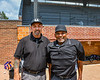 Umpires for the Orange/Purple Crush game at Doubleday Field in Cooperstown, New York on Friday, July 23, 2021.