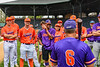 Manager Bill McConnell giving the rules for the Orange/Purple Crush game at Doubleday Field in Cooperstown, New York on Friday, July 23, 2021.