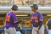 Cortland Crush Jake Andersen (22) congratulates Alexis Castillo (26) on scoring a run against the Syracuse Salt Cats in New York Collegiate Baseball League playoff action at OCC Turf Field in Syracuse, New York on Wednesday, July 28, 2021. Cortland won 12-0.