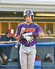 Cortland Crush Javier Rosa (3) before his at bat against the Syracuse Salt Cats in New York Collegiate Baseball League playoff action at OCC Turf Field in Syracuse, New York on Wednesday, July 28, 2021. Cortland won 12-0.