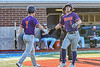 Cortland Crush Jason Boule (7) congratulates Nicholas Pastore (1) on scoring a run against the Syracuse Salt Cats in New York Collegiate Baseball League playoff action at OCC Turf Field in Syracuse, New York on Wednesday, July 28, 2021. Cortland won 12-0.