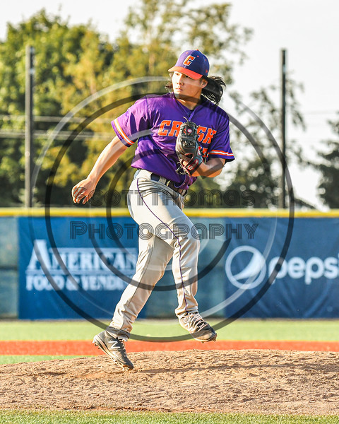 Cortland Crush David Keller (17) after throwing a pitch against the Syracuse Salt Cats in New York Collegiate Baseball League playoff action at OCC Turf Field in Syracuse, New York on Wednesday, July 28, 2021. Cortland won 12-0.