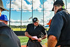 Cortland Crush and Hornell Dodgers Managers go over the ground rules with the umpires before playiong in a New York Collegiate Baseball League Championship playoff game at Gutchess Lumber Sports Complex in Cortland, New York on Friday, July 30, 2021.
