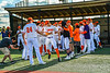 Cortland Crush Zach Marriott (5) being introduced before playing the Hornell Dodgers in a New York Collegiate Baseball League Championship playoff game at Gutchess Lumber Sports Complex in Cortland, New York on Friday, July 30, 2021.