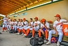 Cortland Crush Manager Bill McConnell addressing his players before playing the Hornell Dodgers in a New York Collegiate Baseball League Championship playoff game at Gutchess Lumber Sports Complex in Cortland, New York on Friday, July 30, 2021.