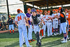 Cortland Crush Matthew Ward (20) being introduced before playing the Hornell Dodgers in a New York Collegiate Baseball League Championship playoff game at Gutchess Lumber Sports Complex in Cortland, New York on Friday, July 30, 2021.