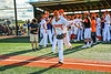 Cortland Crush Jason Boule (7) being introduced before playing the Hornell Dodgers in a New York Collegiate Baseball League Championship playoff game at Gutchess Lumber Sports Complex in Cortland, New York on Friday, July 30, 2021.