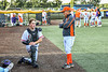 Cortland Crush Manager Bill McConnell talking with Starting Catcher Matthew Ward (20) before playing the Hornell Dodgers in a New York Collegiate Baseball League Championship playoff game at Gutchess Lumber Sports Complex in Cortland, New York on Friday, July 30, 2021.