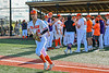 """Cortland Crush Brandon """"Buzz"""" Shirley (18) being introduced before playing the Hornell Dodgers in a New York Collegiate Baseball League Championship playoff game at Gutchess Lumber Sports Complex in Cortland, New York on Friday, July 30, 2021."""