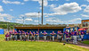 Cortland Crush players before playing the Hornell Dodgers in a New York Collegiate Baseball League Championship playoff game in Hornell, New York on Saturday, July 31, 2021.