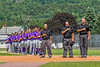 Cortland Crush players standing for the National Anthem before playing the Hornell Dodgers in a New York Collegiate Baseball League Championship playoff game in Hornell, New York on Saturday, July 31, 2021.