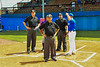 Umpires go over starting line ups and groud rules with the Cortland Crush and Hornell Dodgers Managers before a New York Collegiate Baseball League Championship playoff game in Hornell, New York on Saturday, July 31, 2021.