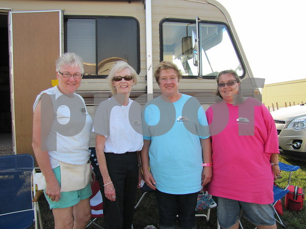 Carol Heatherington, Marilyn Raine, Sue Witt, and Judy Witt were volunteers at the annual Couch Freak Boogie event for skydivers at the Fort Dodge Airport.