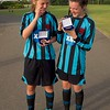 Gracie Humpage & Beth Sumner show their winning medals. Coundon Court Girls U14's National Champions 2015