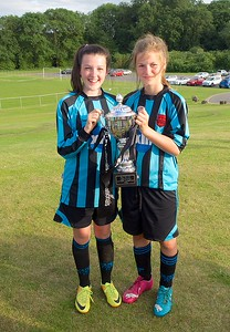Gracie Humpage & Beth Sumner share the cup. Coundon Court Girls U14's National Champions 2015