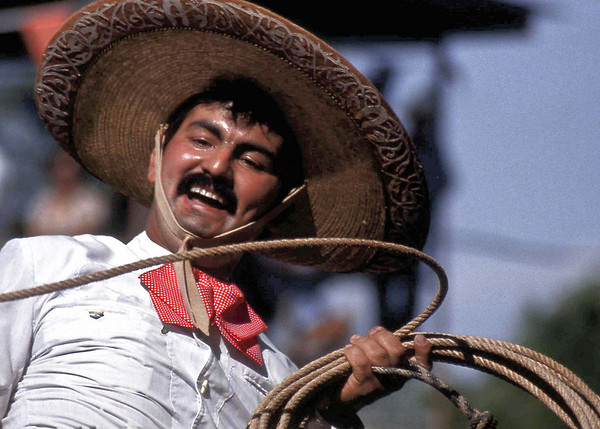Vaquero preparing to do some roping at a Mexican Charro.