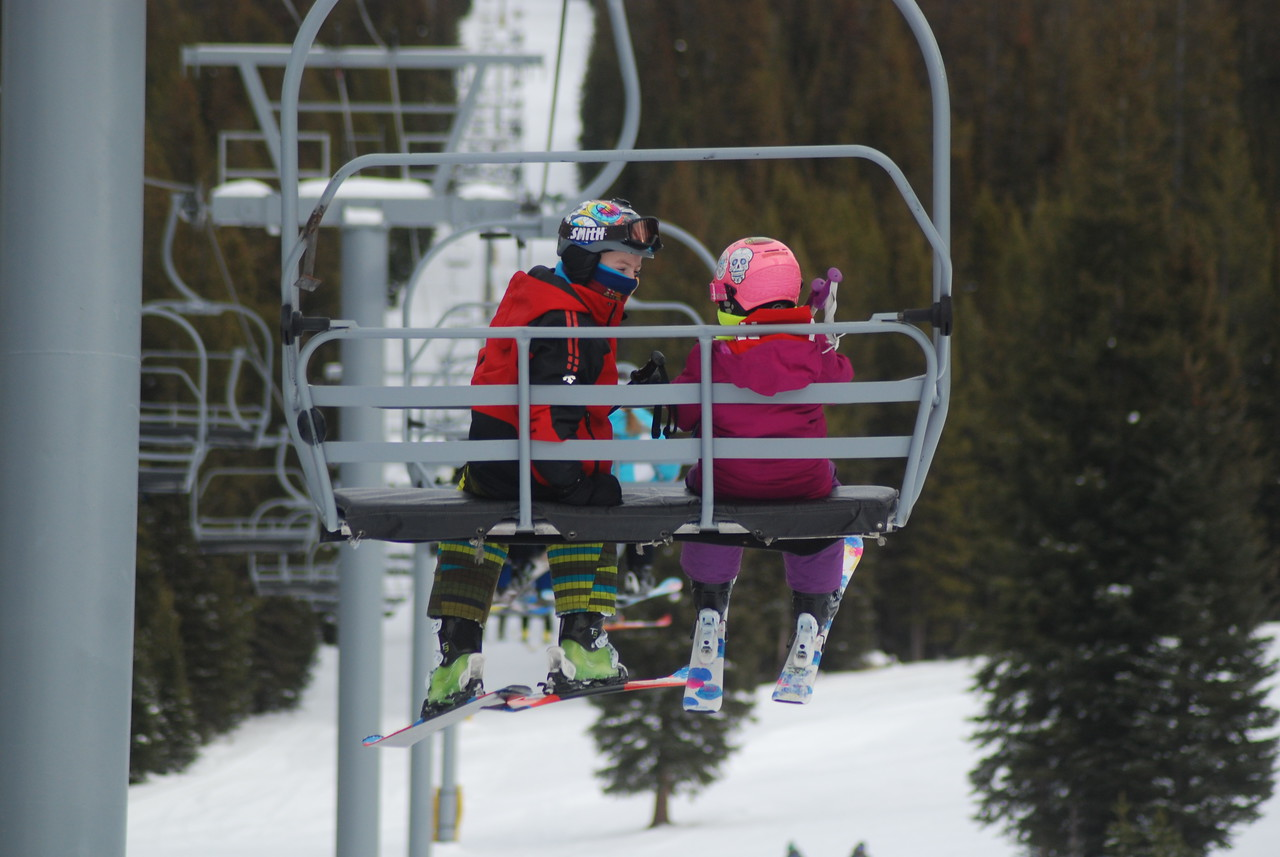 Chairlift pals at Ski Discovery. January 2017.