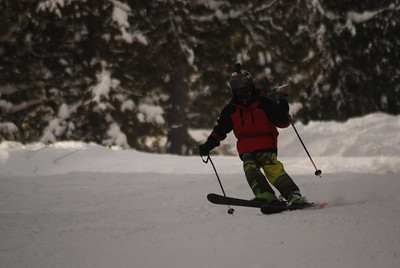 Craig enjoying the December snow at Red.