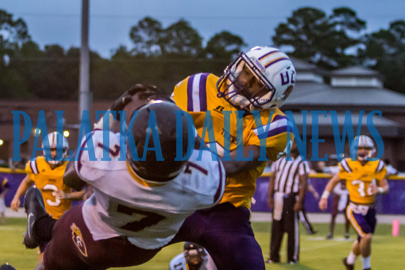 Crescent City senior Kevin Williams (7) pulls in a pass in the endzone in the second quarter for the Raiders third score in the game against Union County on Friday night in a preseason matchup. Fran Ruchalski/Palatka Daily News