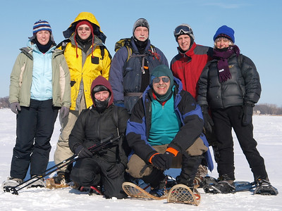 Our expedition is nearing successful conclusion in tropic sun.  Back row: Lynn, Nick, Joe, Luke, Rebecca, and Kate, Martin in the front.