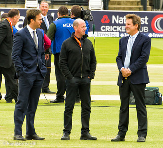 Channel 5's team - Michael Vaughan, Simon Highes and Mark Nicholas.  Ian Botham is in the background.
