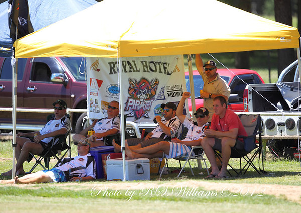 Royal Hotel 'Pirates' Members Stand at Victoria Park, Yass.