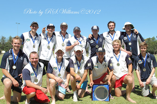 The victorious Burrawang Robertson cricket team with the NSW Country Plate Trophy at Yass, NSW, 2012