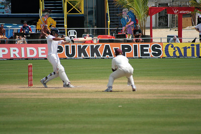 Bat on ball - nearly as good as breaking stumps. To be fair, there was a lot more of this in the match - this was Alistair Cook on his way to (I think) his then highest test score.