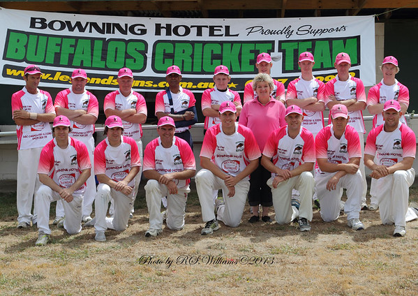 """On """"Pink-Stumps Day"""", the Bowning Buffalos pose for a portrait shoot in February 2013."""