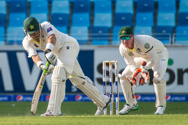Cricket.  Pakistan vs Australia, Day 1 of the 1st Test Match, Dubai UAE. 22 Oct 2014
