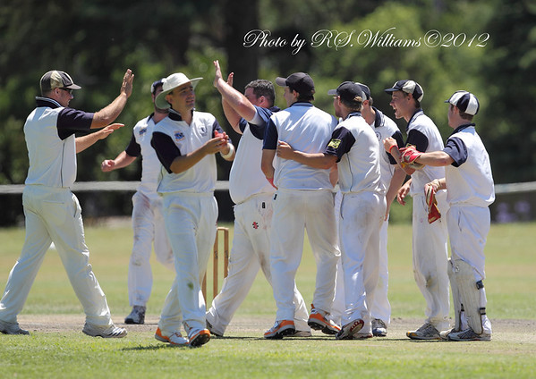 Burrawang Robertson players celebrate a wicket in the Country Plate Grand Final against Yass at Victoria Park Yass. The visitors' victory was relatively comfortable having to chase only 114 runs.