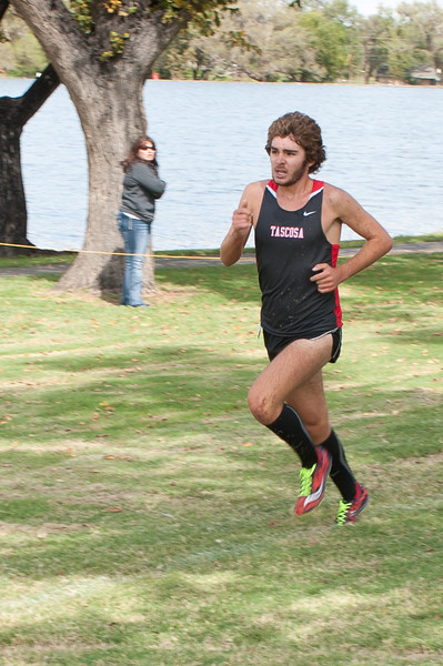 Shaie Williams for AGN Media<br /> <br /> Briggs Whitlake for Tascosa finishes first place in the Large school boys varsity cross country Amarillo Invintational meet on September 13, 2014 in Amarillo, TX.