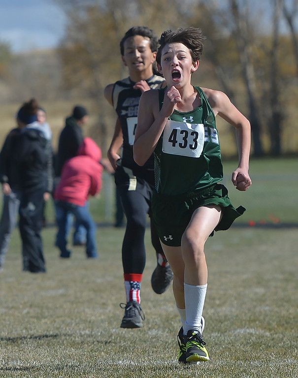 Justin Sheely | The Sheridan Press<br /> Tongue River's Azariah Benavides makes a last push towards the finish in the 2A east conference cross-country meet Saturday at Tongue River High School in Dayton.
