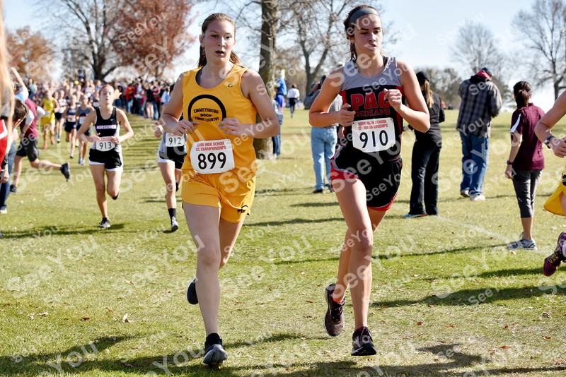 -Messenger photo by Britt Kudla<br /> Emmetsburg Raven Brown (left) and Pocahontas  Area Annika Duitscher run side by side during Class 2A girls State XC on Saturday at Lakeside Golf Course