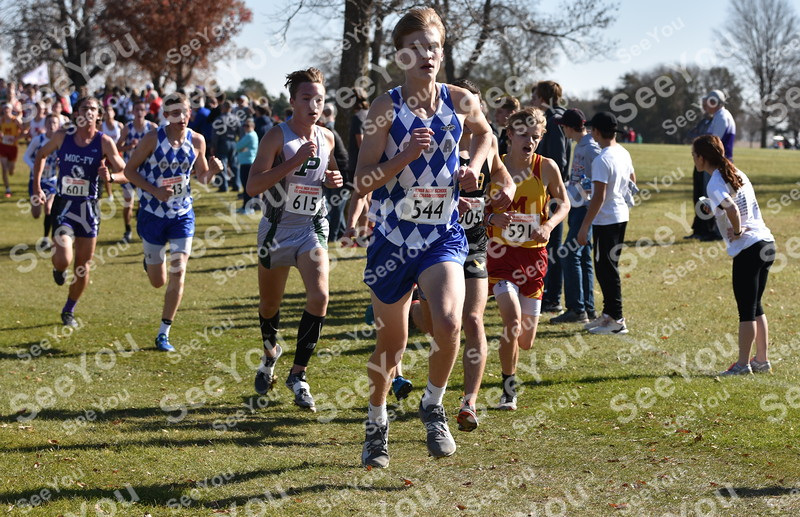 -Messenger photo by Britt Kudla<br /> Jack Sexton of Clear Creek Amana compete during Class 3A boys State XC at Lakeside Golf Course on Saturday