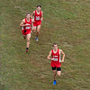 Goshen RedHawks Cole Johnston (606) and his teammates Tommy Claxton (603) and Drew Hogan (605) pace each other during Saturday's Varsity Boys NLC Championship at Ox Bow Park in Goshen.