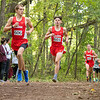 Goshen RedHawks Cole Johnston (606) and his teammates Tommy Claxton (603) and Drew Hogan (605) lead the pack during Saturday's Varsity Boys NLC Championship at Ox Bow Park in Goshen.