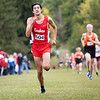 Goshen RedHawks Drew Hogan (604) runs towards the finish line during Saturday's Varsity Boys NLC Championship at Ox Bow Park in Goshen.