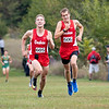Goshen RedHawks Drew Hogan (605) leads his teammate Cole Johnston (606) during Saturday's Varsity Boys NLC Championship at Ox Bow Park in Goshen. Hogan finished first in the championship overall.