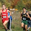 Goshen junior Drew Hogan leads the pack while Northridge Jaxon Miller gives chase during the 2020 IHSAA Sectional 10 cross country championship Saturday at Ox Bow Park in Goshen. Hogan won the individual title for a second-straight year.