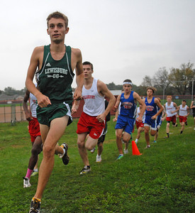Lewisburg's Sean Walker leads the pack of high school boys cross country runners at the meet in Selinsgrove on Tuesday afternoon. Walker won the race.