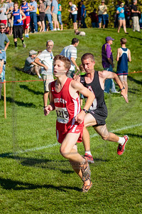 Chase, 4th Alta JV to finish, passing a Park City runner at the 5k finish