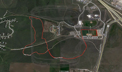 The course is marked in red: Fast Pitch to Hat Trick to Fast Pitch