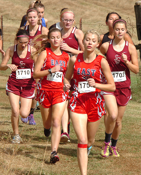 Runners from Sullivan East move towards the front of the pack during the Region 1 A-AA CC meet at Daniel Boone. Photo by Ned Jilton II
