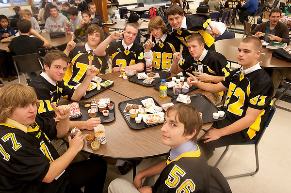 Record-Eagle/Douglas Tesner<br /> Traverse City Central football players ham it up in the cafeteria. Kickoff is 7 p.m. tonight at Thirlby Field in Traverse City.